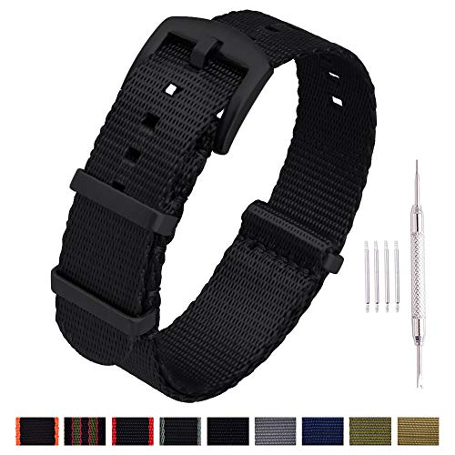 Flames Buckle Seat Belt - Ritche NATO Watch Strap with Heavy Buckle 18mm 20mm 22mm Premium Seat Belt Nylon Watch Bands for Men Women