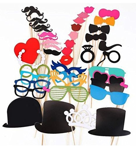 [HOMEKE Photo Booth Props 44 piece DIY Kit for Wedding Party Reunions Birthdays Photobooth Dress-up Accessories & Party Favors, Costumes with Mustache on a stick, Hats, Glasses, Mouth, Bowler,] (Fake Mustache Kit)