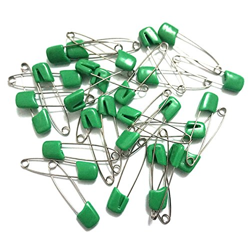 GTONEE 30pcs safety pins, cute brooch pin colorful, Stainless steel, Size L, 2.1 inch Green