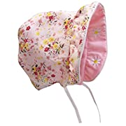 N'Ice Caps Baby Girls Solid To Print Reversible Sun Bonnet (Infant Small (3-6 Months), Pink Solid/Pink Print)
