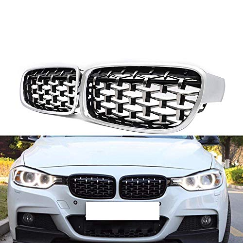 (Fandixin F30 Grilles, ABS Replacement Diamond Front Kidney Grill Front Bumper Hood Grill for BMW 3 Series F30 4-Door Sedan (Silver))