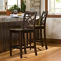 Lynda Brown Mahogany Acacia Wood Counter Height Dining Chairs (Set of 2)