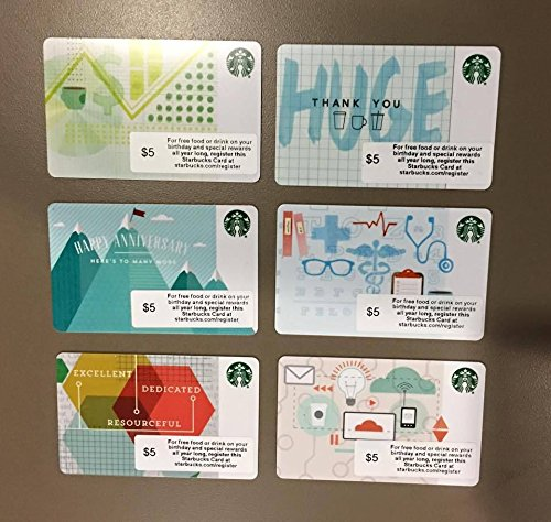 6 Starbucks 2014 Corporate Cards Limited - Card 5.00 Gift