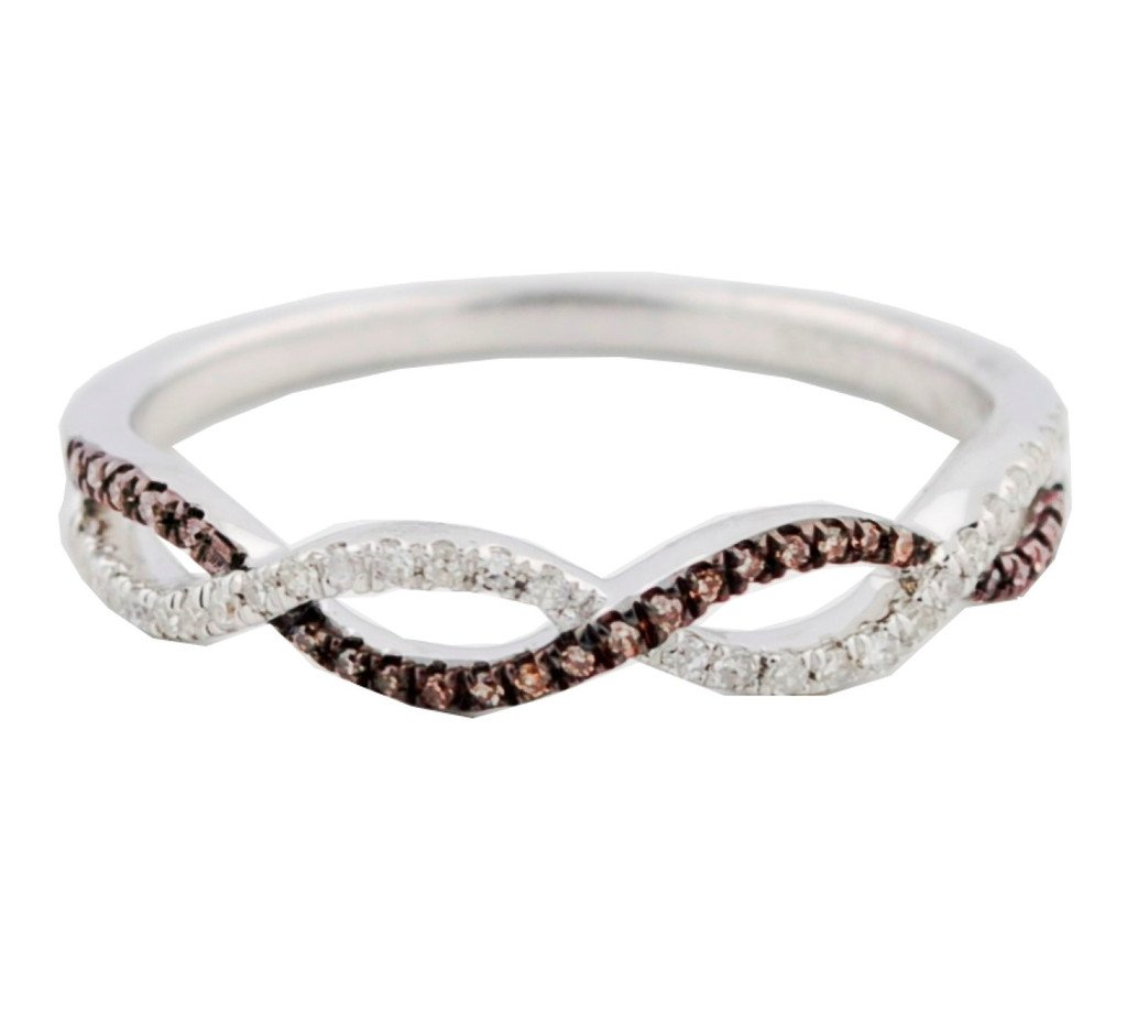 Cognac and White Diamond Anniversary Wedding Band Twisted Infinity Ring Silver(i2/i3, I/j, 1/8ctw)