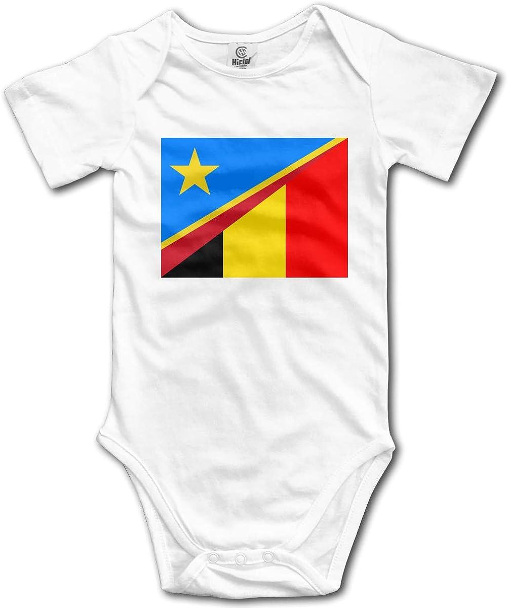 CUTEDWARF Baby Short-Sleeve Onesies Belgium Congo Flag Bodysuit Baby Outfits