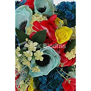 Yellow Red Blue Bridal Bouquet w/ Roses, Hydrangea and Anemones 2