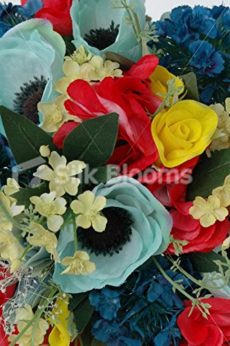 Yellow-Red-Blue-Bridal-Bouquet-w-Roses-Hydrangea-and-Anemones