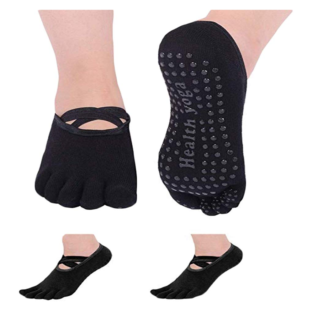 Neoyowo Women's Non-Slip Yoga Socks with Full Toe for Pilates Barre Bikram Ballet Studio Hospital Anti-Skid Sox (2 Pair/Black)
