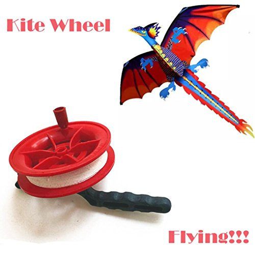 Yeefant Professional 50M Twisted String Line Red Wheel Kite Equipment Reel Winder with flying Line String Flying Tools,Good Kite Accessories For Memorable Summer Fun
