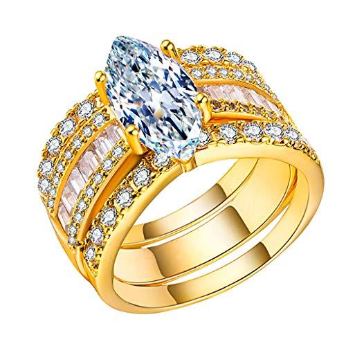 3 Piece Rings, Luxury Inlaid Drop Shine Gemstone Rhinestones Wedding Ring Jewelry Gift (Gold, 10)