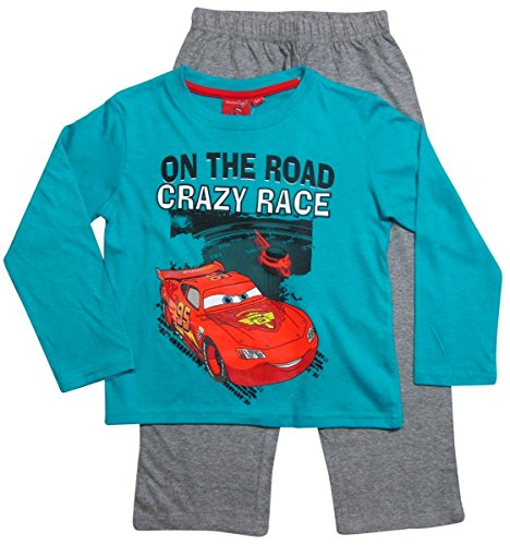 Disney Cars 2 Kollektion 2016 Schlafanzug 92 98 104 110 116 122 128 Jungen Pyjama Neu Lang Lightning McQueen Blau (110 - 116, Blau)