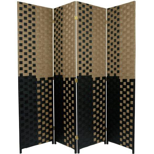 Oriental Furniture 6 ft. Tall Woven Fiber Room Divider - Olive/Black - 4 Panel