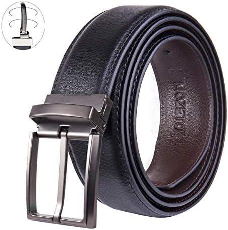 [해외]Belt for Men MOZETO Men`s Reversible Casual Jean Belt for 2 Colors Genuine Leather Dress Belt with Rotated Buckle Gift Box / MOZETO Men`s Casual Belt, Rotated Buckle 2 in 1 Reversible Leather Belt, Adjustable Length Dress Belt Gift...