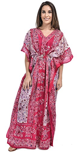 Nightingale Collection Womens Ladies Long Kaftans Elephant Printed The Front and Back Waist Tie for Size 10 to 24 (One…