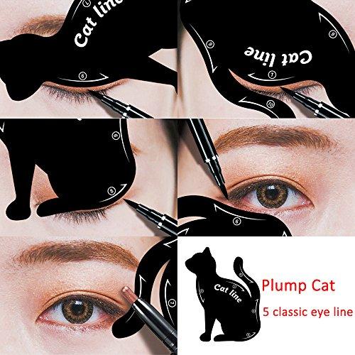 Cat Eyeliner Stencil Smoky Eyeshadow Applicators Template Plate Multifunction Cat Shape Eye liner Eye Shadow Guide Repeatable Professional Eye Makeup Card Tools Matte PVC Material Black 12 Pack