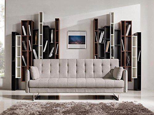 Herring Convertible Tufted Sofa with Metal Leg in Sandstone Fabric
