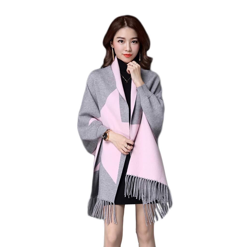A JUN Cloak Female Autumn and Winter Shawl Scarf Dualuse Thick Knit Cardigan New Korean Tassel Dress Cloak Jacket (color   C)