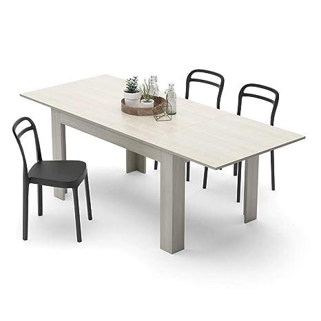 Mobili Fiver Easy, Tavolo Allungabile Cucina, Nobilitato, Olmo Perla, 140 x  90 x 77 cm
