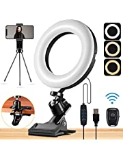"""$23 » Mastten Ring Light for Laptop Phone, 6"""" Desk Ring Light with Clip Clamp Mount, Video Conference Lighting with Bluetooth Remote/Phone Holder/Tripod, for Zoom Meetings, Makeup, YouTube, TIK Tok, Vlogs"""