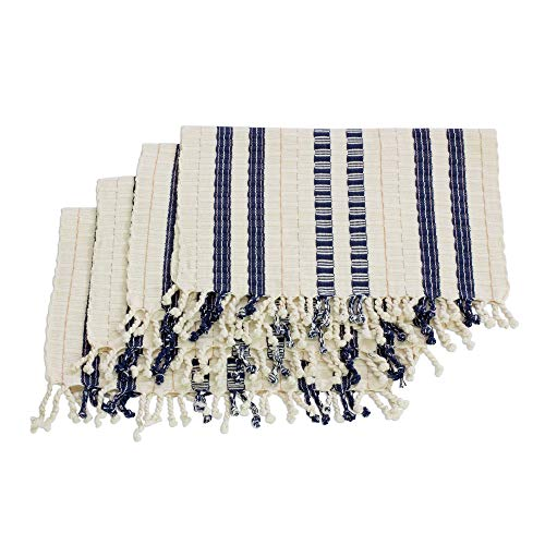 NOVICA Blue and Ivory Hand Woven Cotton Placemats, Splendid Contrast' (Set of 4)