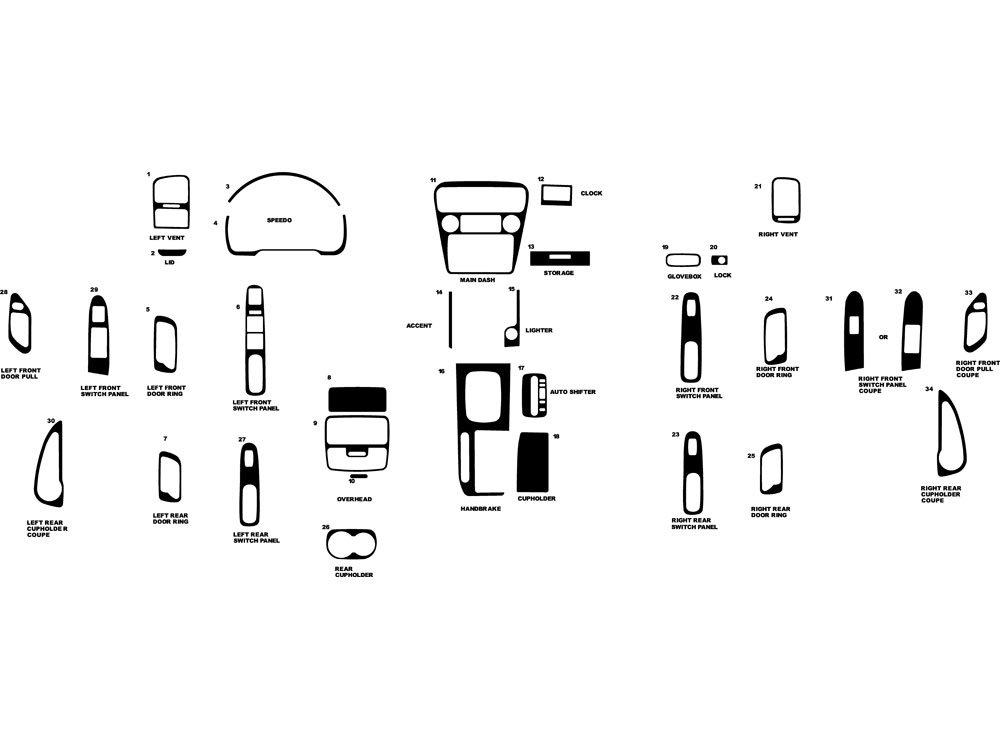 Rdash Dash Kit Decal Trim for Honda Accord 1998-2000 - Wood Grain (Burlwood Honey)