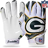 Franklin Sports Green Bay Packers Youth NFL Football Receiver Gloves – Receiver Gloves For Kids – NFL Team Logos and Silicone Palm – Youth M/L Pair
