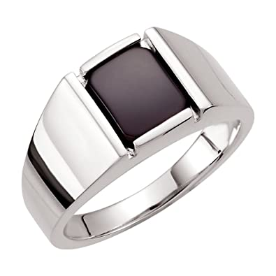 bcfc78cff Image Unavailable. Image not available for. Color: Sterling Silver Men's  Onyx Ring ...