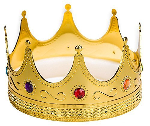 Adorox Gold Royal King Plastic Crown Prince Costume Accessory Adult/K Kid (1) -