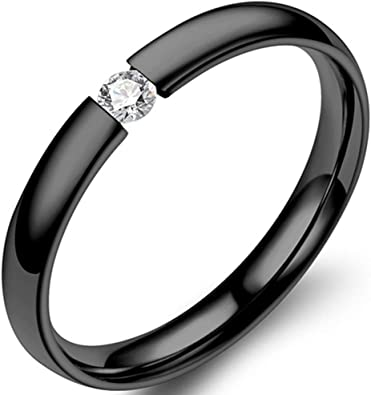 Jude Jewelers 2mm Classical Simple Plain Stainless Steel Stackable Cubic Zircon Wedding Band Ring