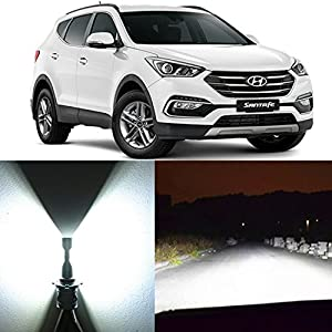 Alla Lighting 2x Super Bright White H4 9003 H4LL LED Headlight Bulbs for High Low Beam Headlamp Conversion Kits Replacement for 2001 2002 2003 2004 2005 2006 Hyundai Santa Fe