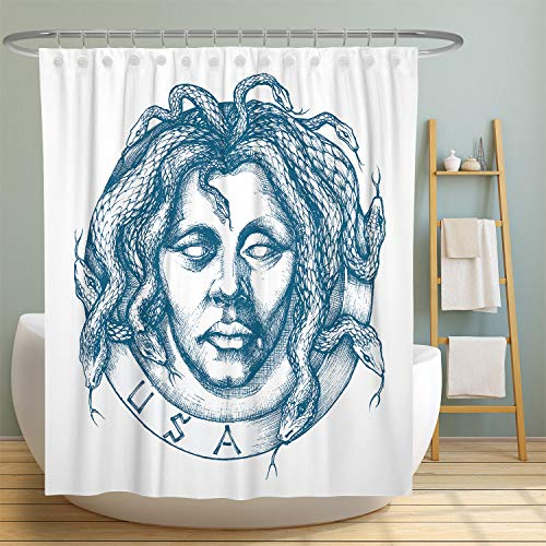 MuaToo Bathroom Shower Curtain,Mysterious Man Portrait with Snakes in Place of Hair Drawing Print Bath Decor Polyester Fabric with Hooks 72 x 72 Inches,White and Blue