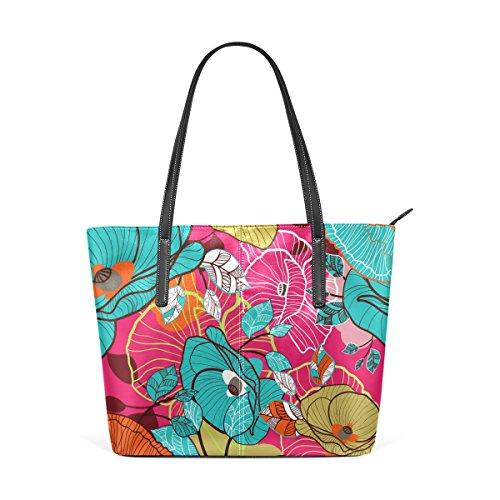 COOSUN Colorido floral PU de la textura de cuero bolso monedero y bolsos de la bolsa de asas para las mujeres Medio muticolour