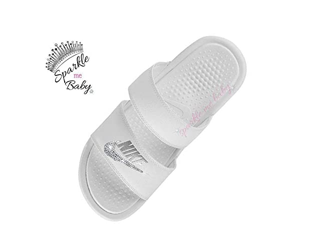 6f188213d Image Unavailable. Image not available for. Color  Nike Benassi Duo Women s  in White - Blinged - Swarovski Bedazzled Nike Duo Slides Customized for