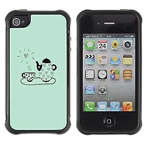 Suave TPU GEL Carcasa Funda Silicona Blando Estuche Caso de protección (para) Apple Iphone 4 / 4S / CECELL Phone case / / Summer Clean Blue Sun Aunt /