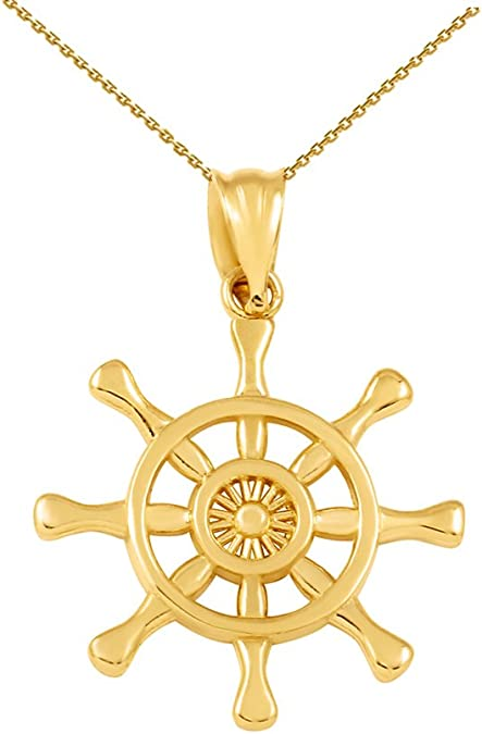 Sailing Jewelry Hobby Jewelry Gift Gold Birthday Gift 10k Yellow Gold Ship Necklace 10k Yellow Gold Cruise Ship Light Pendant Ship Charms