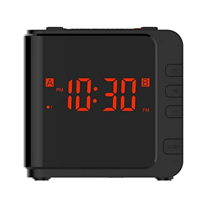 AM/FM Radio Reloj Digital LED Luz Dimmer Tabla Temporizador Reposo Batería de Respaldo Doble