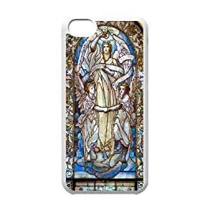 Pharrel Stained Glass IPhone 5C Case Arlington Street Church Window Stained Glass for Teen Girls, Iphone 5c Cases for Girls Cheap, [White]