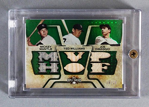 2008 Triple Threads Mickey Mantle, Ted Williams, Joe DiMaggio Game-Used Jersey Bat Card Relic 18/18