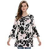 Loose Fit Printed Tops Juniors 3 4 Bell Sleeve Floral Printed A Line Comfy Tunics to Wear with Leggings Multicolor Pink L