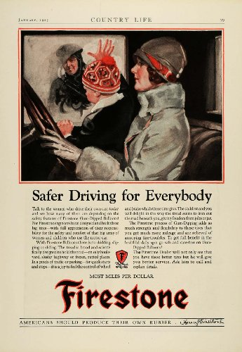 1927 Ad Antique Car Firestone Gum Dipped Balloon Rubber Tires Flapper Mom Child - Original Print Ad from PeriodPaper LLC-Collectible Original Print Archive