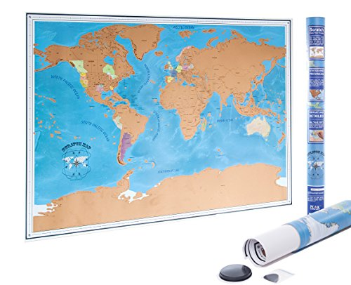 Scratch Off World Map - Scratch Off Places You Travel! - State and Province outlines - Detailed Cartography - Vibrant Colors - 33 x 23 inches
