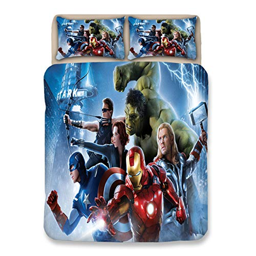 JJ YY Avengers 3D Duvet Cover Popular Movie Bedding Set Best Gift for Film Fun Bed Cover Children Teenagers and Adults Favorite Bedding Have Twin Full Queen King Size