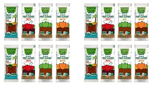 Stretch Island All-Natural Gluten Free Fruit Strips 4 Flavor 16 Snack Variety Bundle, (4) each: Cinnamon Apple, Cherry, Apple, Apricot.5 Oz. Ea. (16 Snacks Total)