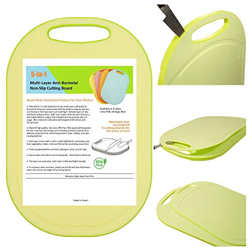 Kylermade 5 In 1 Multi-Layer Anti-Bacterial Non-Slip Cutting Board (Lime), Innovative 5 layered construction, 5 Kitchen Chopping Boards for Price of 1, BPA Free, Dishwasher Safe, Juice Grooves (1 Antibacterial)