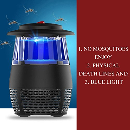 USB Stheanoo Mosquito Zappers Electric Fly Bug Insect Killer LED Light Pest Trap Lamp Non-toxic, Non-polluted, Radiation-free Mosquito Killer for Home Kitchen Bedroom (black) by Stheanoo Zapper (Image #1)