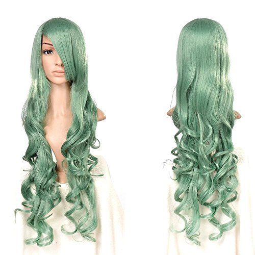 Easy To Make Women's Halloween Costumes (Costume Wigs for Women Halloween Green Long Curly Cosply Party Wig 32