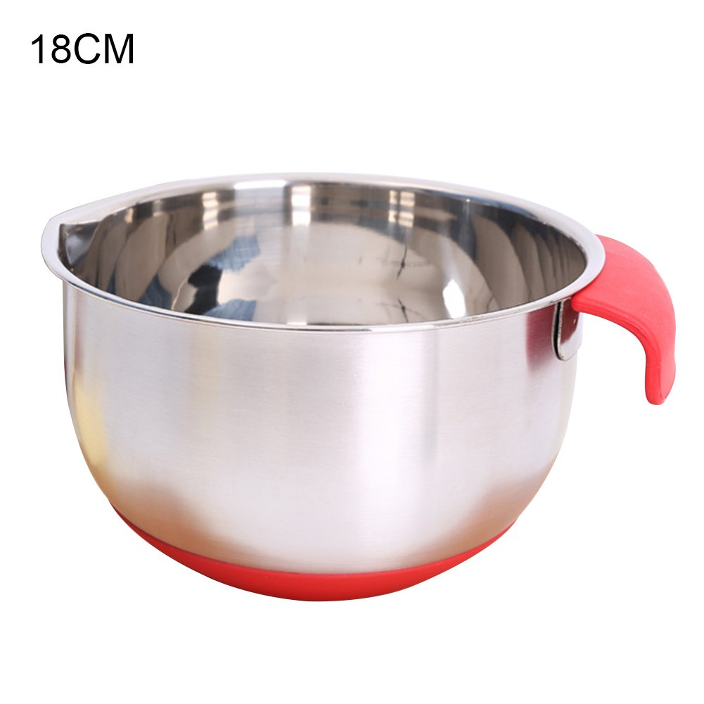 1PC Stainless Steel Round Mixing Bowl, Non-Slip Silicone Base Mixing Bowls, Egg Beating PanCooking and Kitchen Essentials(18CM)