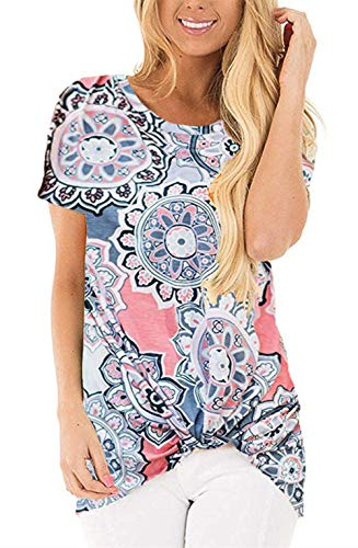 onlypuff Twist Knot Shirts for Women Tie Front Floral Tops Short Sleeve Casual Tunic Tops - Top Tie Knit Side