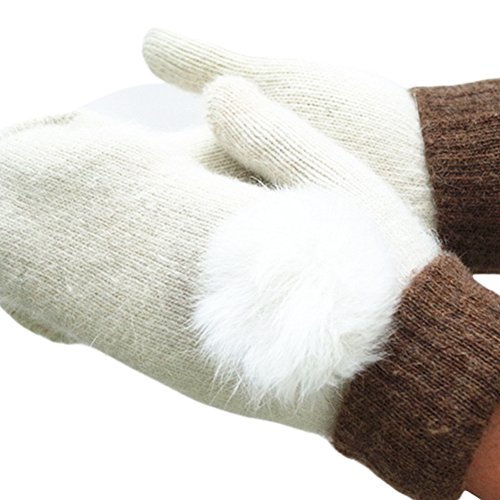 X&F Women's Solid Thick Winter Woolen Mittens Warm Gloves with Rabbit Fur Ball White (8 Inch Fuzzy Bear)