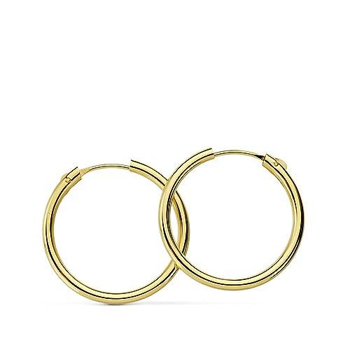 fe84c9a7881b Aros oro amarillo 18k Morgana 18mm - Pendientes de mujer 1.5mm  Amazon.es   Joyería